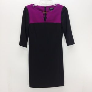 Tahari Arthur S Levine Purple & Black Dress